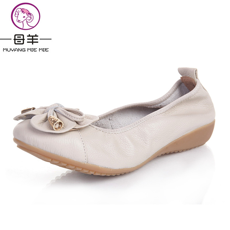MUYANG Plus Size(35-42) Ballet Flats 2018 Shoes Woman Genuine Leather Women Shoes 5 Colors Loafers Ladies Shoes Women Flats tangnest new embroider women flats casual flower printed ballet flats solid pu leather leisure shoes woman size 35 40 xwc1233