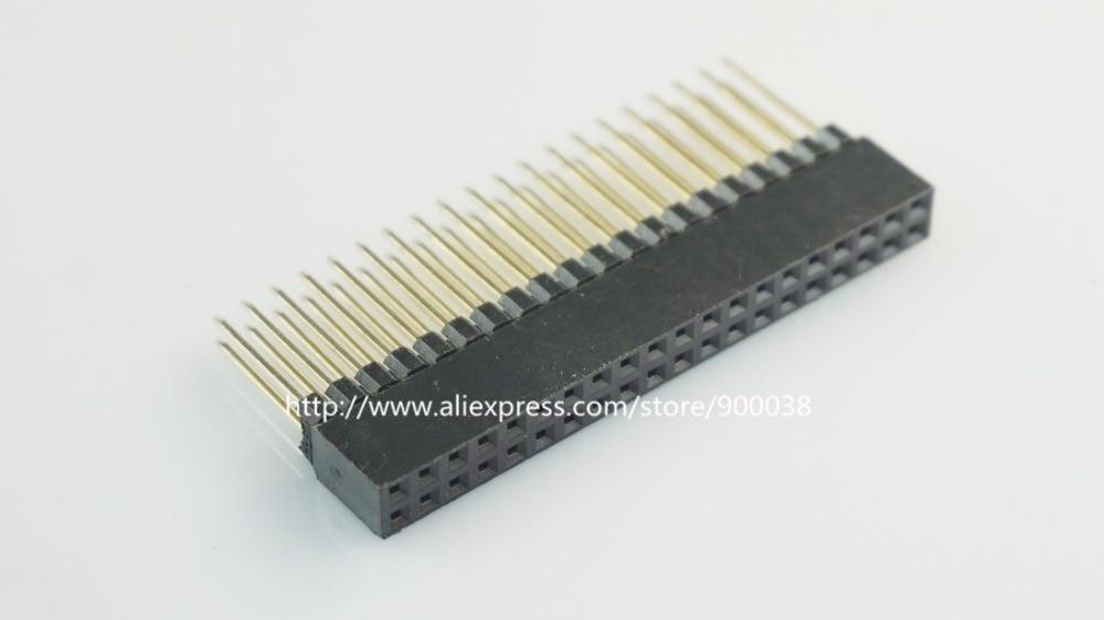 50pcs 2 54 mm 2x20 P 40 Pin Female Pin Header Square Pins 12 2mm Length