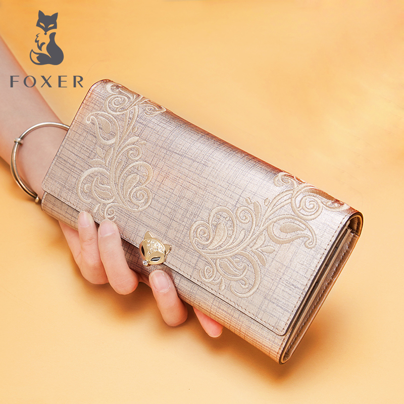 FOXER Women Fashion Leather Long Wallet Phone Bag Card Holder Luxury Coin Purse for Women Standard Wallets