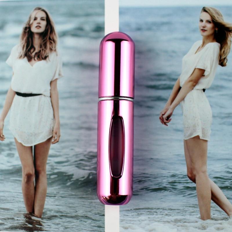 1 шт. высокое качество 5 мл флакон духов мини металлический распылитель многоразовый Алюминиевый распылитель для парфюма размер путешествия - Цвет: Shiny Rose Pink