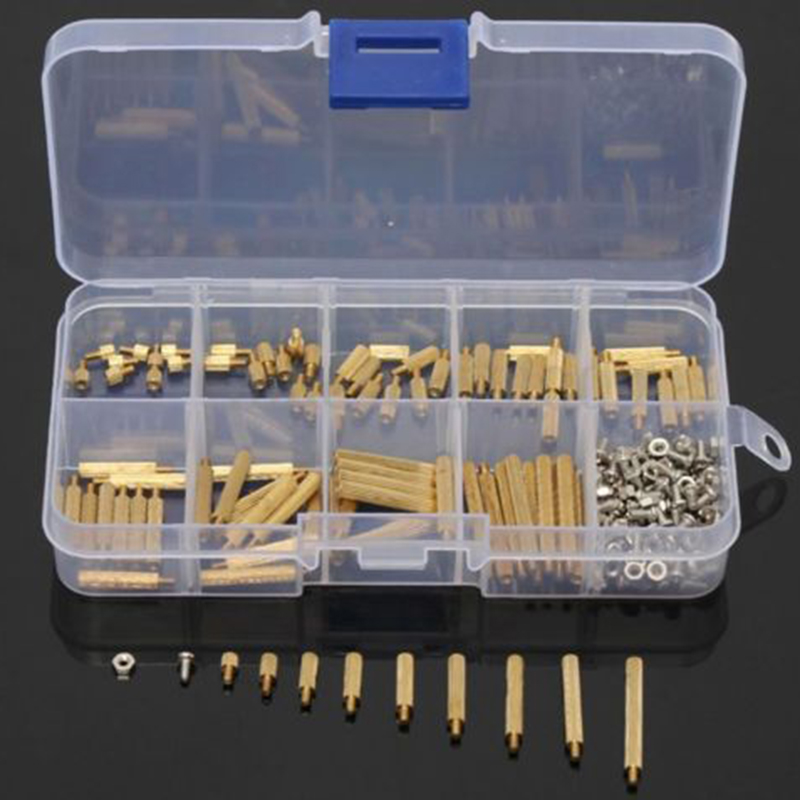 270pcs M2 3-25mm Male Female Brass PCB Standoff Screw Nut Assortment Set with Plastic Box 230pcs m2 5 2 5mm brass standoff spacer male x female with m2 5 6 pan head screws and m2 5 hex nut assortment kit