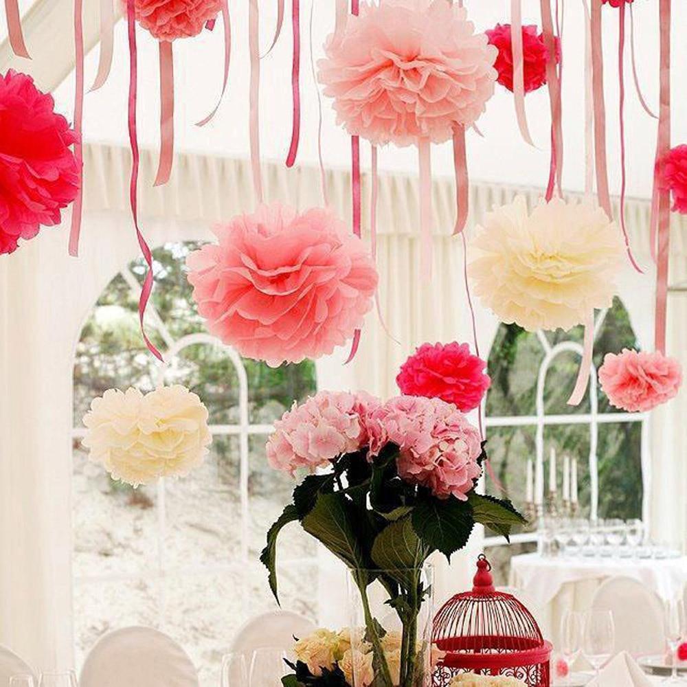 2pcs 10inch 25cm Pompon Tissue Paper Pom Poms Flower Kissing Balls