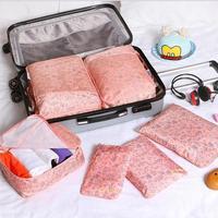 6pcs Set Women Travel Storage Bag Toiletry Underwear Clothes Closet Divider Tidy Organizer Pouch Suitcase Portable