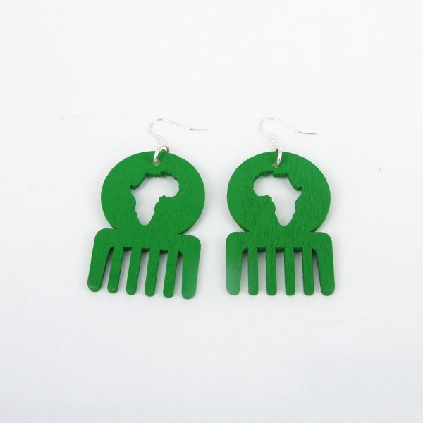 Trendy Handmade unique African Map Afro Comb Dangle Wooden Earrings for Fashion Ladys Green Colors With HOOK 6pairs/lot