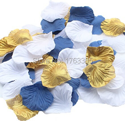 Set of 600 whitegoldnavy bluesilk rose petals artificial flowers set of 600 whitegoldnavy bluesilk rose petals artificial flowers wedding centerpieces decoration mightylinksfo