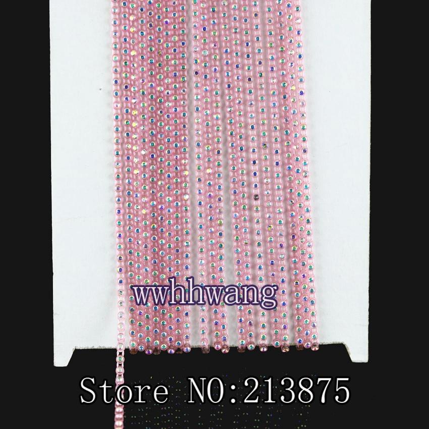 10Yards,SS6,2mm,,B Grade,Clear AB,glass Crystal Rhinestones,Banding Trim,15 color,Trim Plastic chain,bottom Wedding dresses