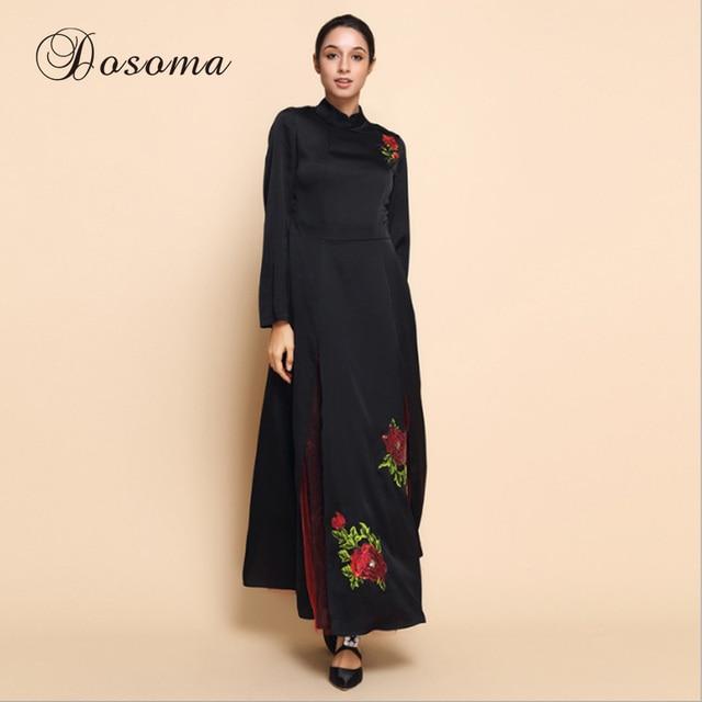 Jilbab Muslim Dress Abaya Bordir Bunga Kimono Jubah Gaun Pesta