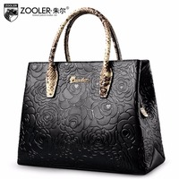 Embossed Pattern Leather Tote ZOOLER 2017 Genuine Leather Bags Handbag Women Bag Real Limited In Stock