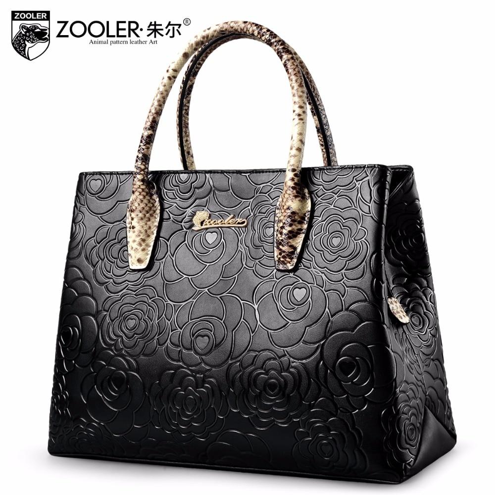 Elegante patrón de bolso de cuero genuino tote 2018 ZOOLER bolso de las mujeres bolsa de cuero de piel de vaca bolsas hombro feminina # 5002