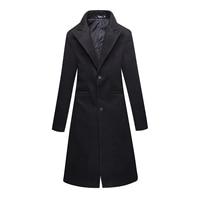 New 2019 Winter Cloth Mens Slim Black Business Business Longer Trench Coats / Male Fine Woolen Cloth Wool & Blends Coat Jackets