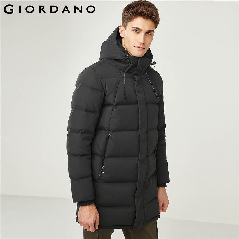 Giordano Men Duck Down Jacket Men 90% Content Grey Duck Down Hood Mid-long Down Jacket Men Doudoune Easy Care Downproof Pockets