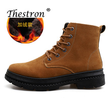 2019 Hot Sale Fashion Winter Male Cashmere Working Boots Inside Velvet Non Slip Rubber Sole Snow Boots Mens High Top Sneakers цены онлайн