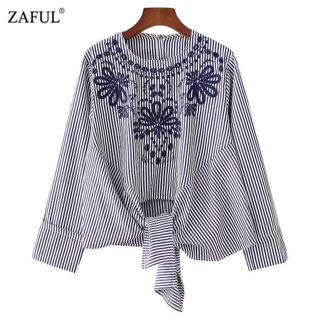 ZAFUL Women Knotted Embroidered Striped Blouse O-Neck Top Shirt Blouse Long  Sleeve Blouse Blusas