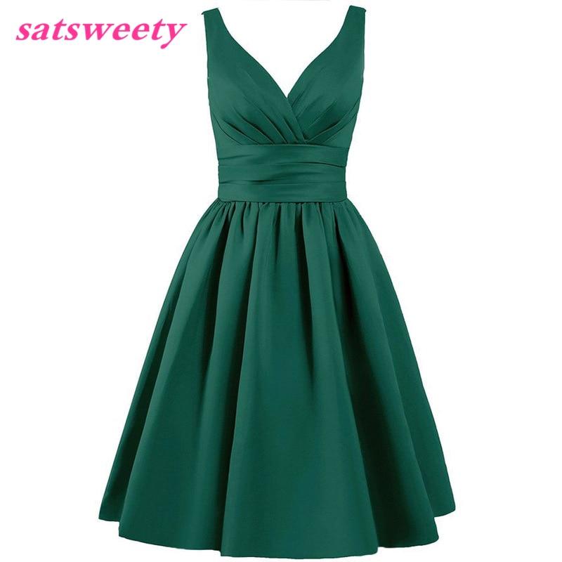 Satsweety Custom Color Tea-Length V-Neck Short Stain Bridesmaid Dresses Wedding Party Dress Mid-Calf Prom Dress Plus Size