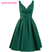 Satsweety Custom Color Tea-Length V-Neck Kort Stain Bridesmaid Dresses Bröllopsfest Klänning Mid-Calf Prom Dress Plus Size