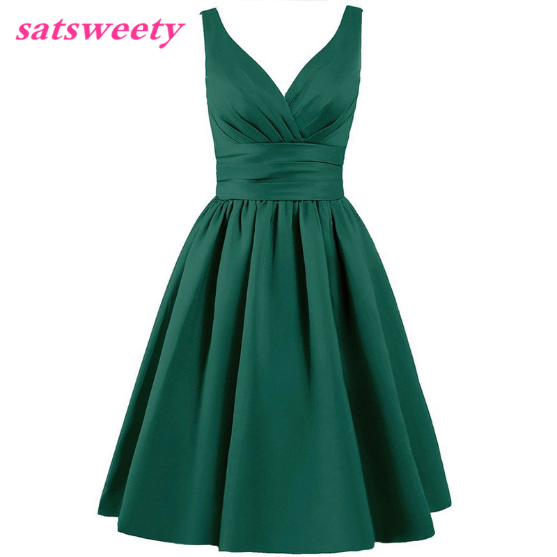 Satsweety Custom Color Tea-Length V-Neck Short Stain   Bridesmaid     Dresses   Wedding Party   Dress   Mid-Calf Prom   Dress   Plus Size