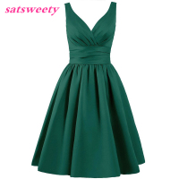 Satsweety Custom Color Tea Length V Neck Short Stain Bridesmaid Dresses Wedding Party Dress Mid Calf Prom Dress Plus Size
