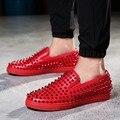 De alta Calidad de Los Hombres Pisos Zapatos de Cuero Remaches Hechos A Mano Vestido de Oxford Zapatos Para Hombres de Negocios Zapatos Casuales Clásicas De Mujer