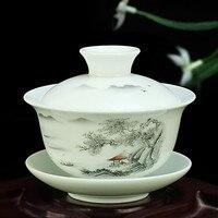 الصينية اليد رسمت طقم شاي سلطانية ده هوا عالية الجودة الأبيض الخزف gaiwan الشاي الخزف وعاء مجموعة للسفر سريع كوب