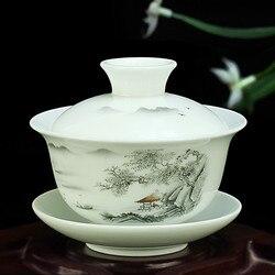 Chinês pintado à mão conjunto de chá tureen dehua alta qualidade branco porcelana gaiwan chá porcelana pote conjunto para viagens copo rápido