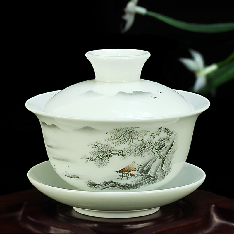 Chinese Hand Painted Tea Set Tureen Dehua High Quality White Porcelain Gaiwan Tea Porcelain Pot Set For Travel Fast Cup
