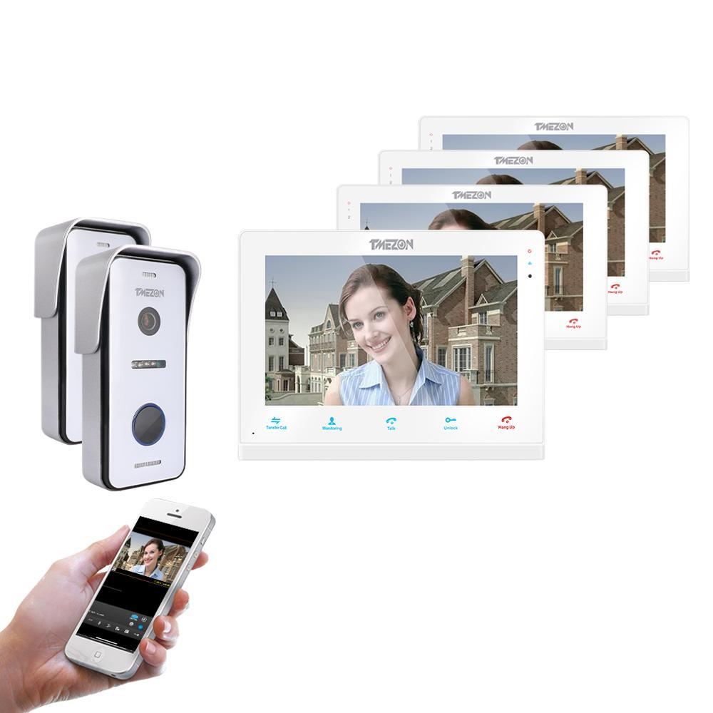 TMEZON  Wireless/Wifi Smart IP Video Doorbell Intercom System ,10 Inch+3 X 7 Inch  Monitor With 2x720P Wired Door Phone Camera