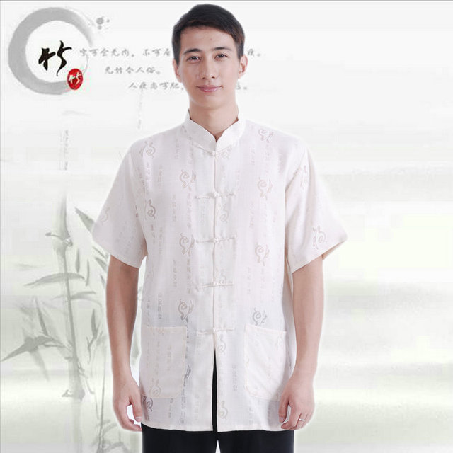 Chinese Men Cotton Linen Short Sleeve Summer 2016 Mandarin Collar Tang Suit Tops Plus Size Kung Fu Shirts Hanfu