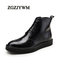 ZGZJYWM New Winter Fashion High Quality Handmade Pointed Toe Lace Up Genuine Leather Oxfords Ankle Boots Business Mens Boots