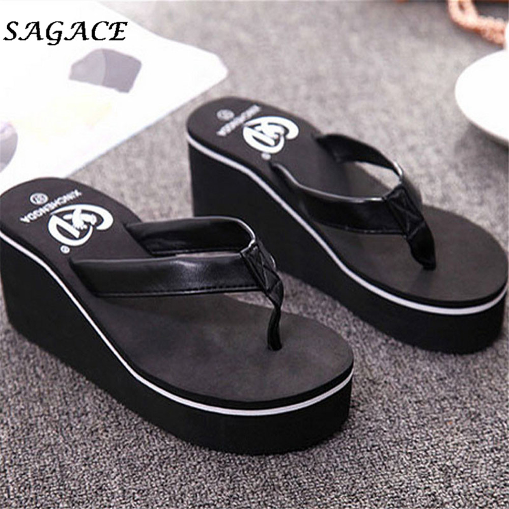 SAGACE Shoes Summer Sexy Flip Flops Women Sandals Lady Bohemian Korean Style Muffin Slope With Sandals sapato masculino hot sale women fashion summer slope with flip flops sandals loafers shoes 0320