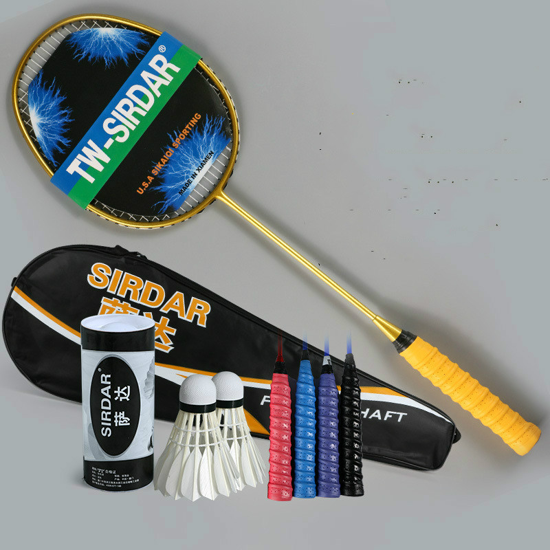 Treu Voll Carbon Badminton Schläger Echte Einzigen Schuss Ultra Licht 45u Schuss In Senior Amateur Team Training Battledore Professionelle Badminton Schläger Badminton