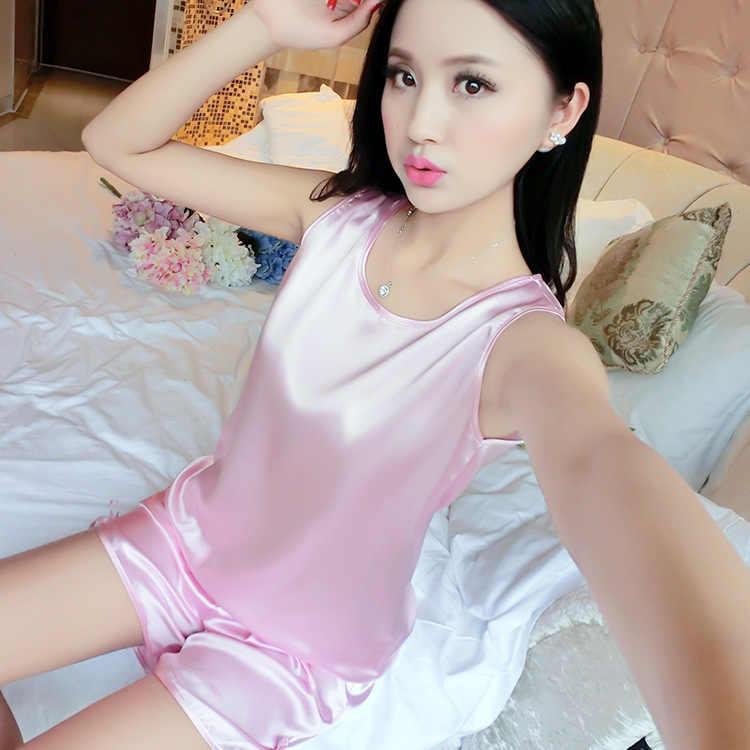 Шелковые пижамы, комплекты для женщин, пижамы, Укороченная рубашка, шорты, пижамы, брюки, синий, красный, розовый, фиолетовый, цвет шампанского