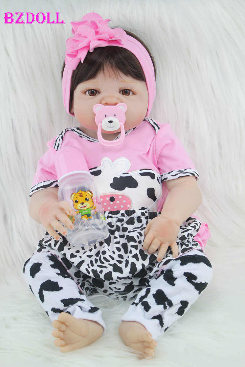 55cm Full Body Silicone Reborn Girl Baby Doll Toy Lifelike Newborn Princess Babies Doll Fashion Kids Child Brinquedos Bathe Toy