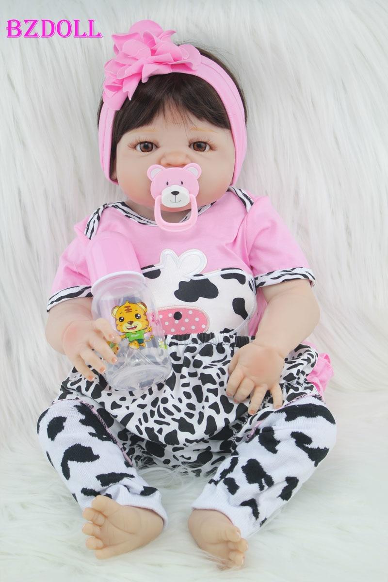 55cm Full Body Silicone Reborn Girl Baby Doll Toy Lifelike Newborn Princess Babies Doll Fashion Kids Child Brinquedos Bathe Toy(China)