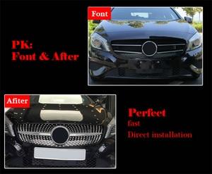 Image 3 - Parrilla frontal de diamante para Mercedes Benz Clase A W176 negro brillante sin emblema insignia ABS reemplazo 2013 15 A180 A250 A200 A300