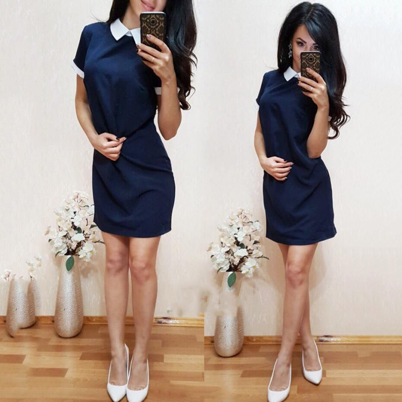 2018 New Women office work white collar OL shirt dress Summer Short sleeve Party Navy blue Pink Straight dress Mini Vestidos
