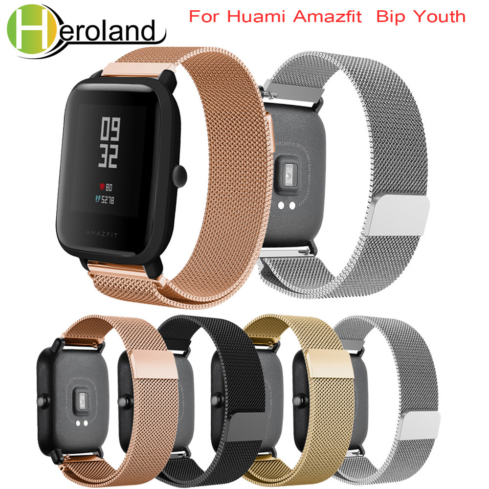 Milanese Loop Straps For Xiaomi Huami Amazfit Bip BIT Lite Youth Smart Watch Strap/Amazfit GTS Bracelet 20mm Sports Wrist Band