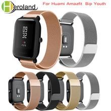 Купить с кэшбэком Milanese loop Straps For Xiaomi Huami Amazfit Bip BIT Lite Youth Smart Watch Strap for amazfit Bracelet 20mm Sports wrist Band