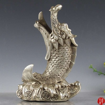 Chinese old Decoration plated silver Carving dragon head fish