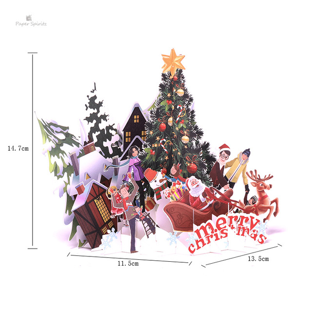 Buon Natale 3d.3d Pop Up Carte Di Buon Natale Origami Di Carta Laser Cut Cartoline