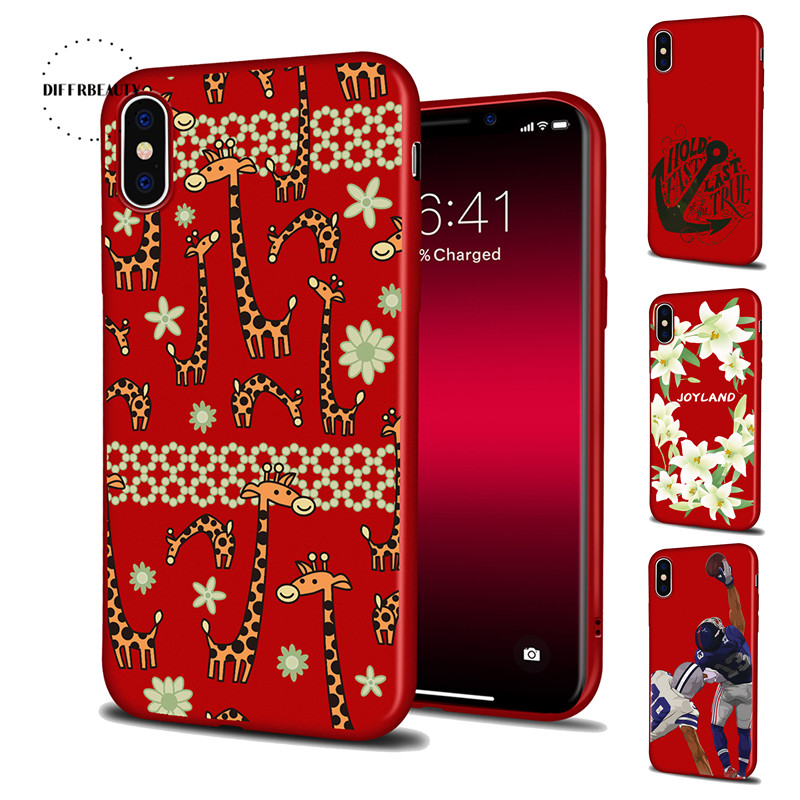DIFFRBEAUTY Flower Soccer Animal Cute Long Deer Cartoon Phone Cases For iPhone X 8 6S 7 6 Plus 5 Red Silicone Soft Cover Coque
