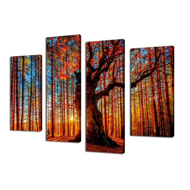 Wall Art Canvas Painting Red Tree Sunset Forest   4 Piece Large Sunshine  Landscape Modern Artwork