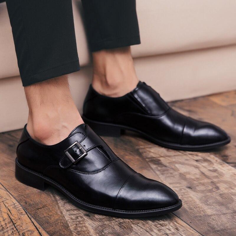 amp; Tamanho Deslizamento Homens Clássico Sapato Elegantes Casamento Festa Em Sapatos Couro Sapatas Escritório Grande Do Formal Black 2019 De Dos Preto Vestido Masculino Negócios 1tAawq8