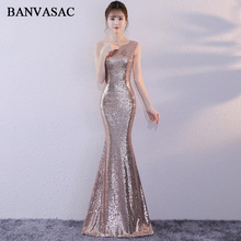 BANVASAC 2018 Elegant One Shoulder Sequined Mermaid Long Evening Dresses Party Sleeveless Zipper Back Prom Gowns