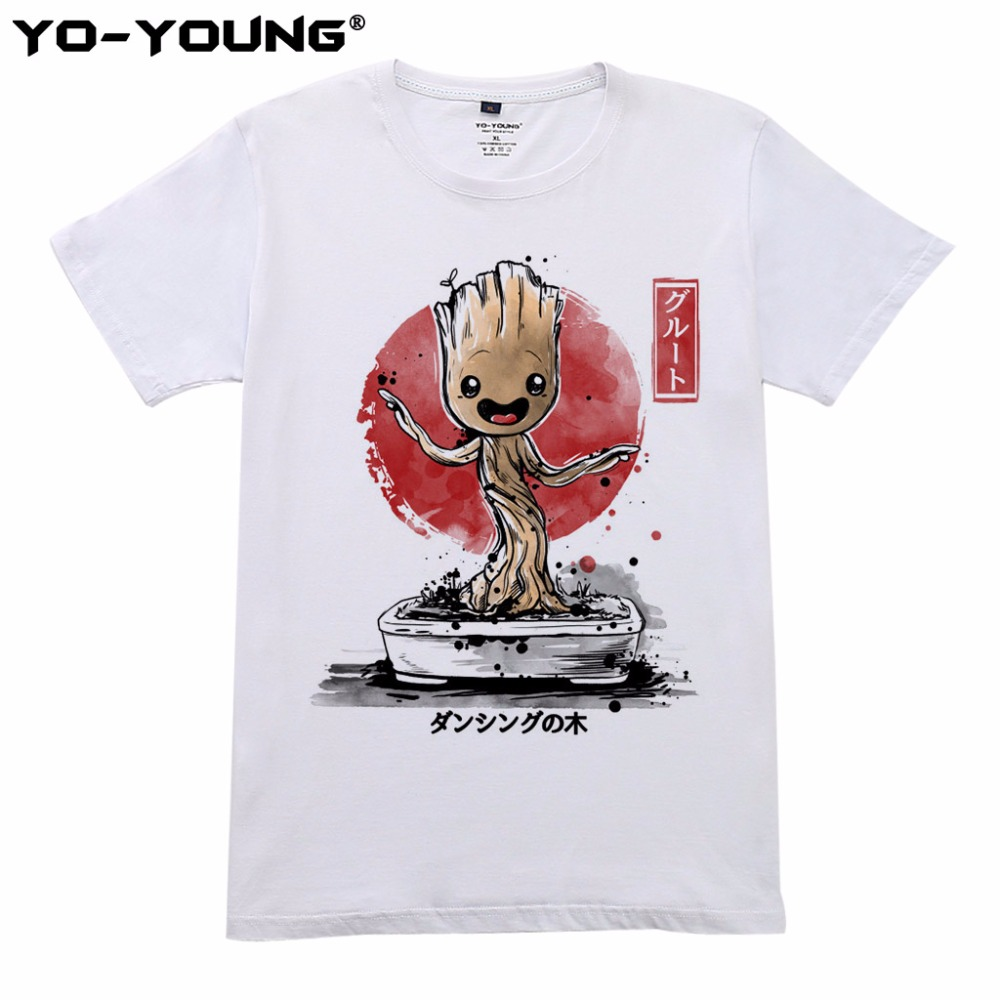 Yo-Young Men T shirts Guardians of the Galaxy POP Groot Digital Print 100% Cotton Casual T shirts Short Sleeve