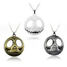 New Arrive THE NIGHTMARE BEFORE CHRISTMAS JACK SKELLINGTON WHITE SKULL PENDANT NECKLACE FASHION MOVIE JEWELRY