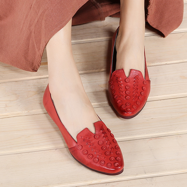 VALLU Vintage Handmade Shoes Women Flat Shoes Genuine Leather Pointed Toes Soft Comfortable Women Slip On Ballet Flats