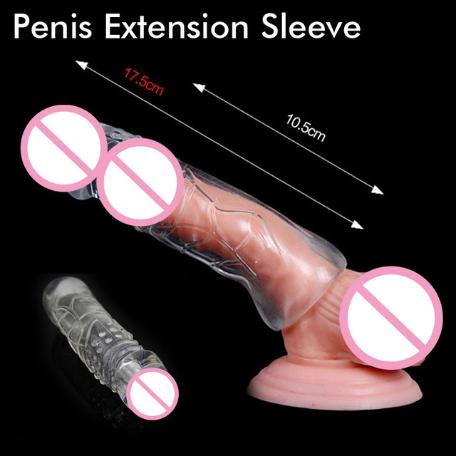 7cm Bigger Penis Sleeve Extender Enhancer Condom Erection Impotence Aid