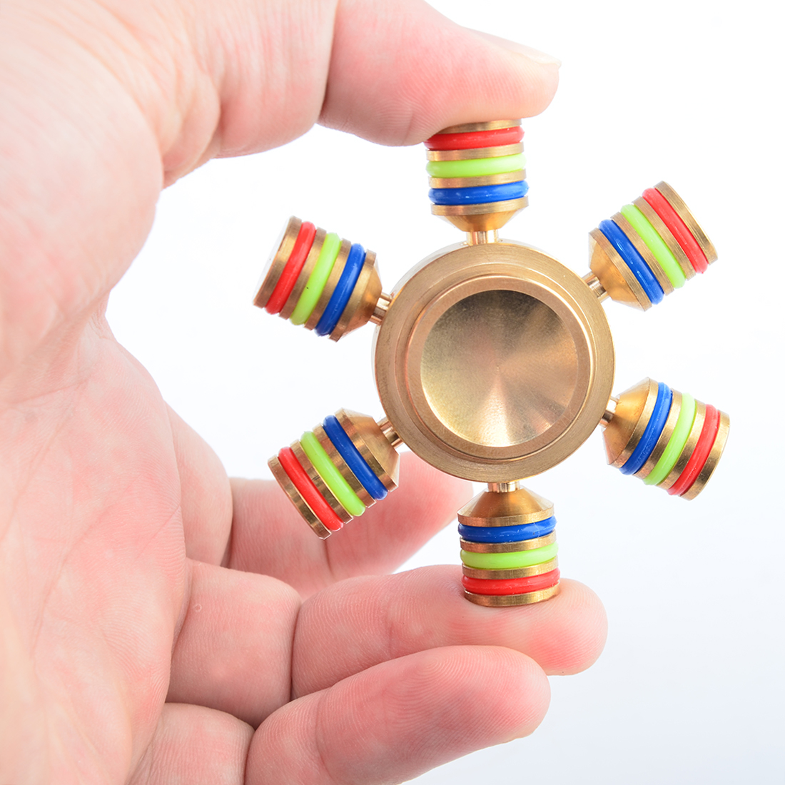 Hexagon Finger Spinner Rainbow with Hybrid Ceramic Bearing EDC Brass Metal Spinner Fidget Hand Toy for Stress Anxiety Relief