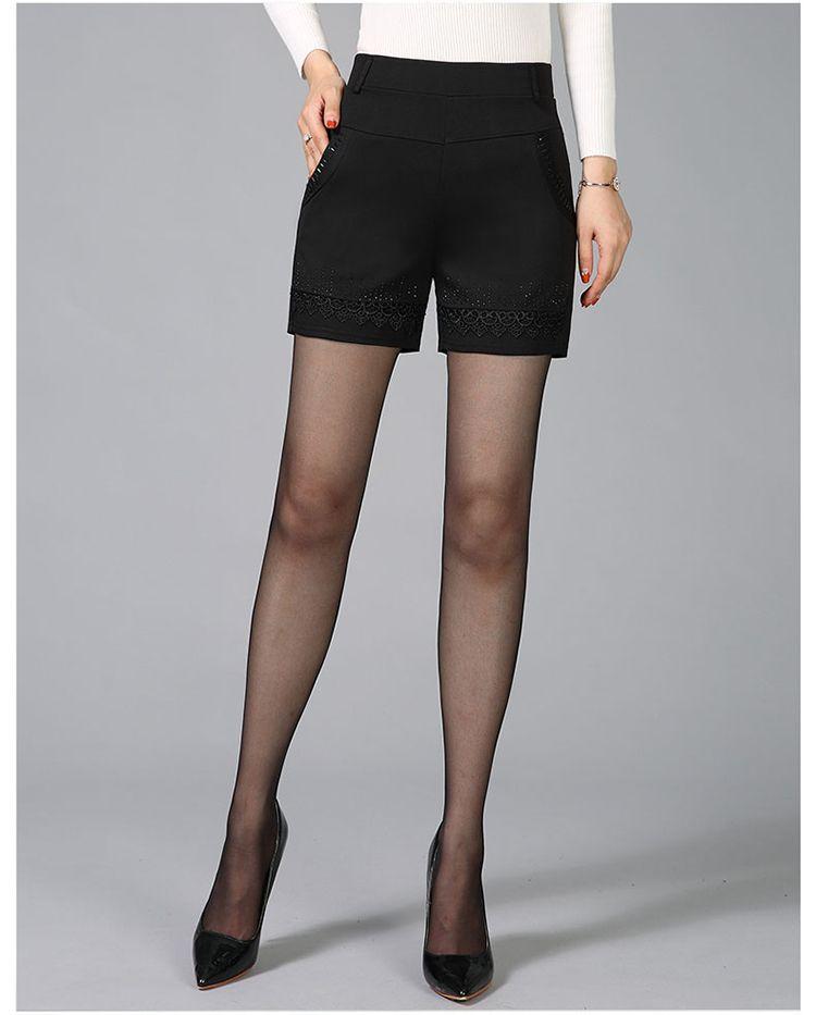 Women Summer Shorts Black Elastic Band Waist Short Pants Woman Casual Pantalones Cortos Mujer Slim Fit Shorts 4XL 3XL 2XL (8)