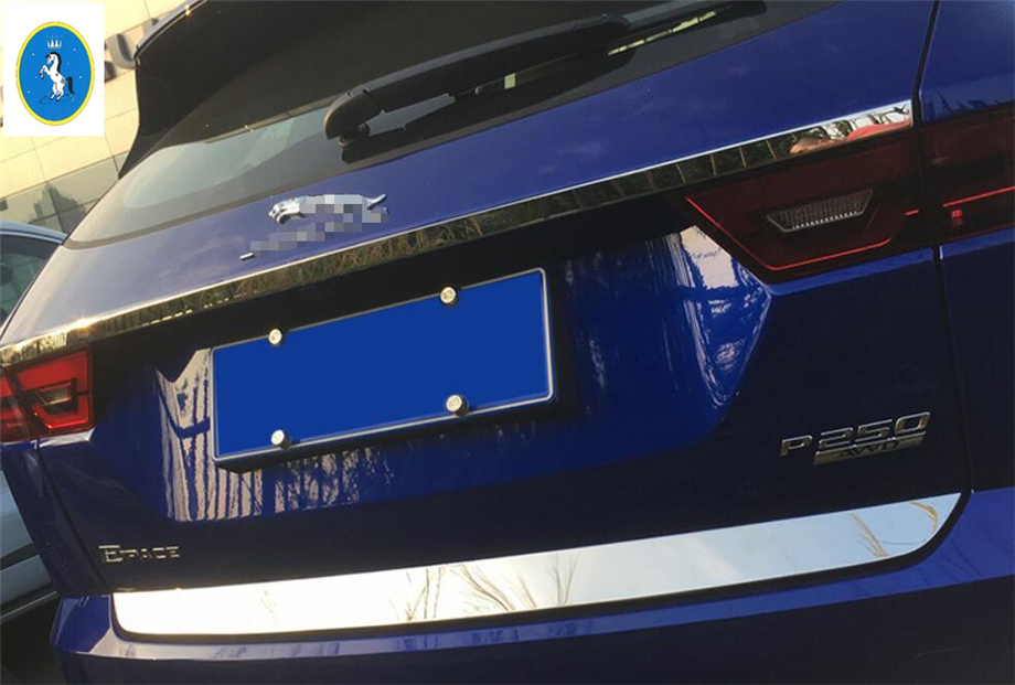 Yimaautotrims Auto Accessory Rear Tail Trunk Lid & Upper Tailgate Overlay Strip Cover Kit For Jaguar E pace E pace 2018   2020|Chromium Styling| |  - title=